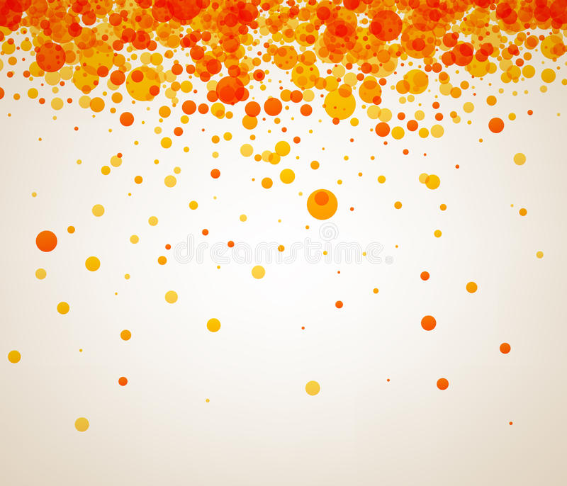 Background with orange drops. White paper background with orange and yellow drops. Vector illustration stock illustration