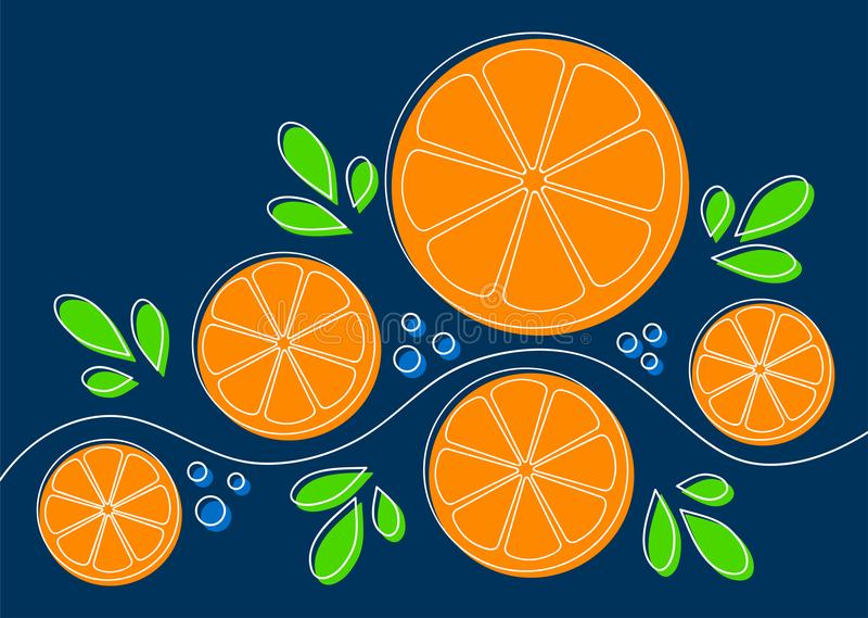 Background with oranges. Abstract pattern design with oranges on dark blue background. Can be used as background, on packaging paper or textile. Lline art with royalty free illustration