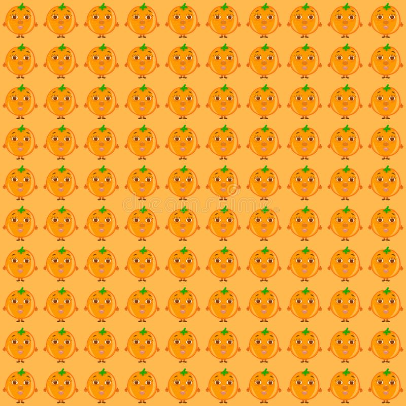 Background with oranges with a face, funny fruits.  royalty free illustration