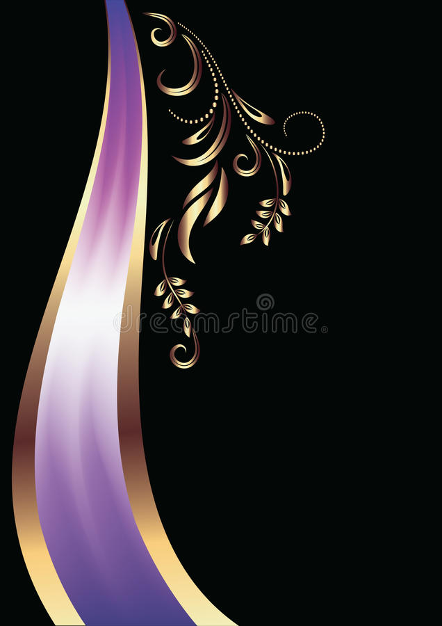 Background with ornament and elegant ribbon vector illustration