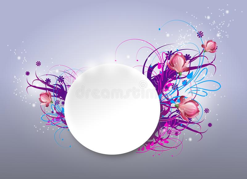 Background with ornaments. Illustration of white cirle with colorful ornaments on background vector illustration