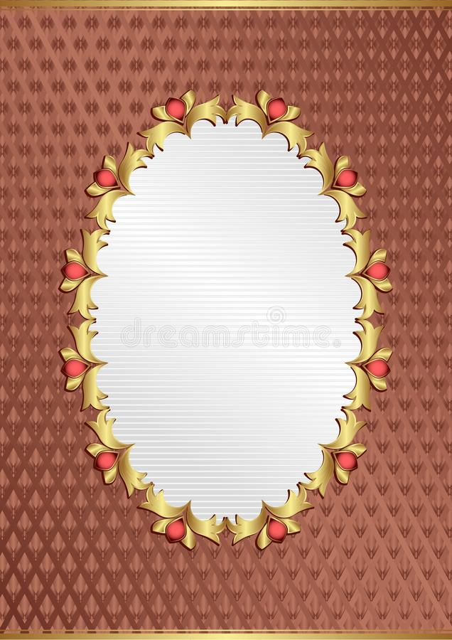 Background. Ornate background with golden frame stock illustration