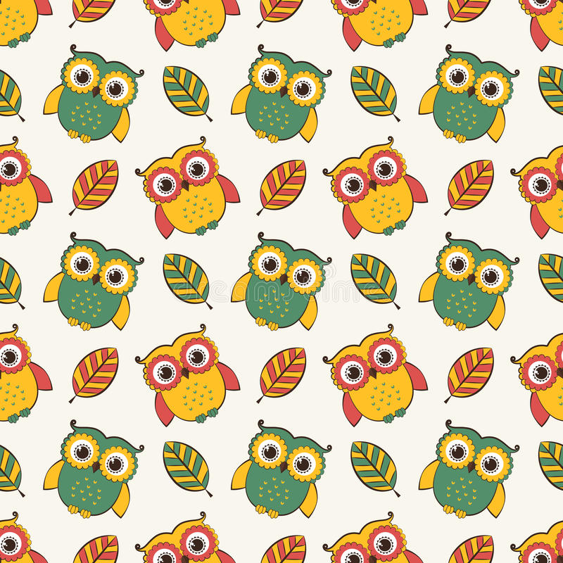 Background with owls and leaves. Vector seamless pattern. vector illustration