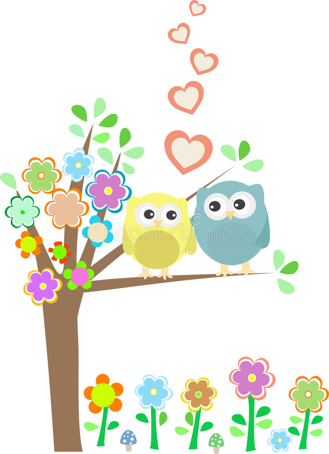 Background With Owls In Love Sitting On Branch Stock Images
