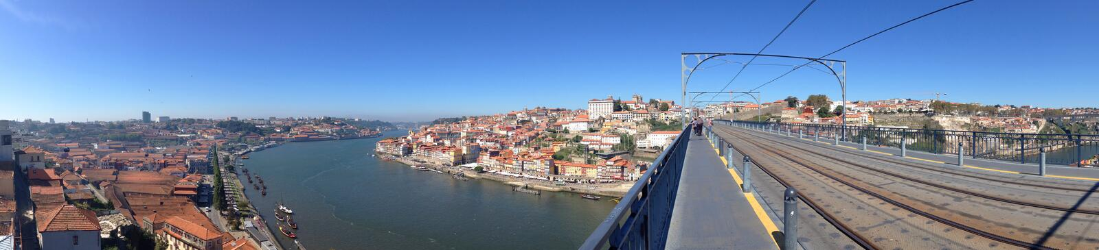 Background panoramic views of the waterfront promenade and Porto Vila Nova de Gaia from the Dom Luis Bridge stock images