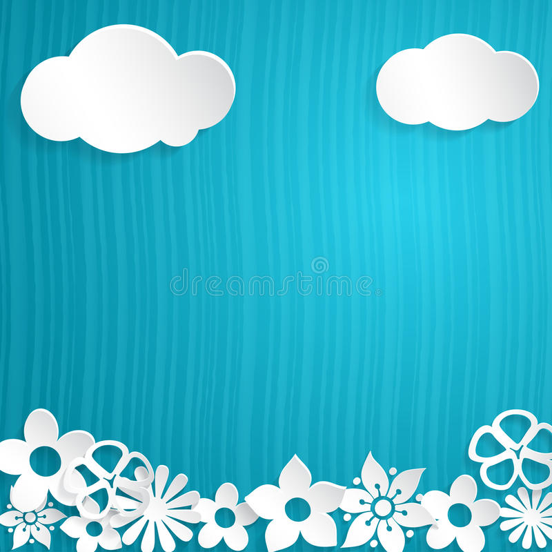 Background with paper flowers stock illustration