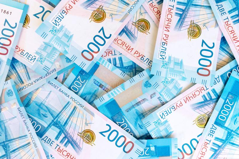Background Of Paper Russian Money. New Russian Banknotes Of 2000 Two Thousands Rubles. royalty free stock photography