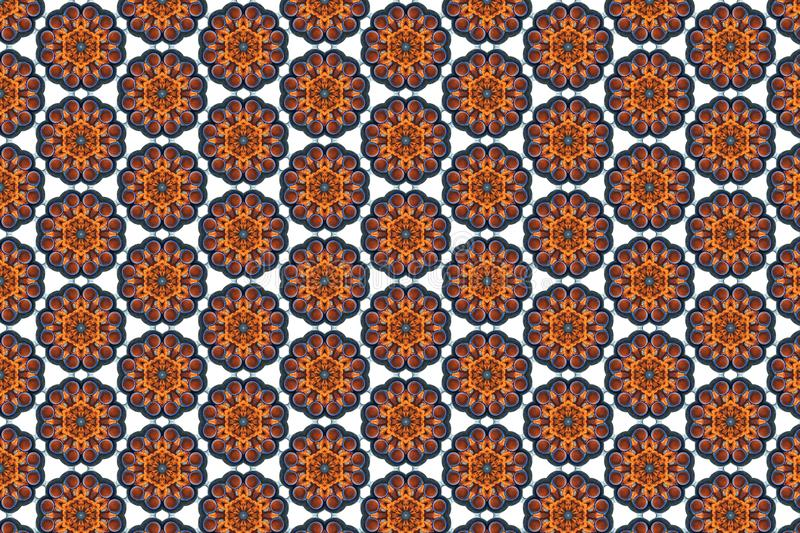 Tile background pattern with symmetric ornament. Geometric seamless design template with orange, brown and white elements royalty free illustration