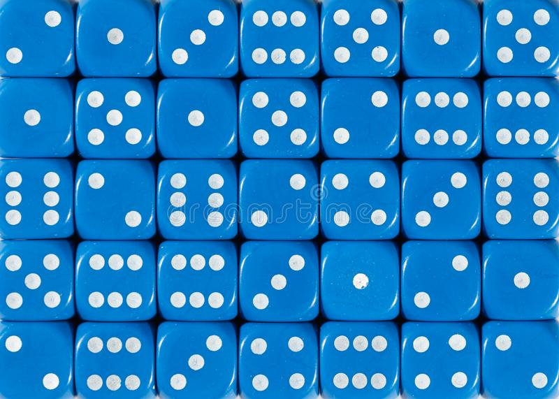 Background pattern of blue dices, random ordered. Pattern background of blue dices, random ordered stock images