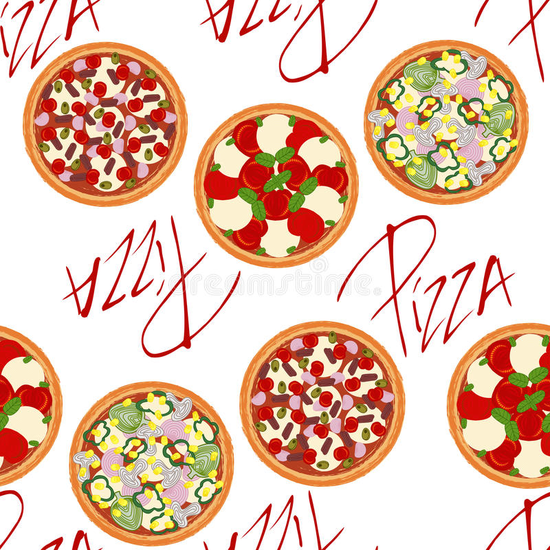 Background pattern with different types of pizzas vector illustration