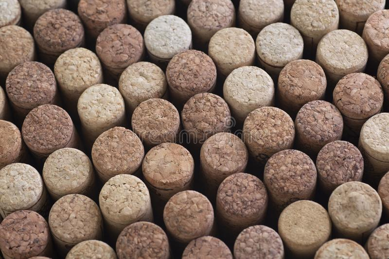 Background pattern of different wine bottle corks, top view stock photo