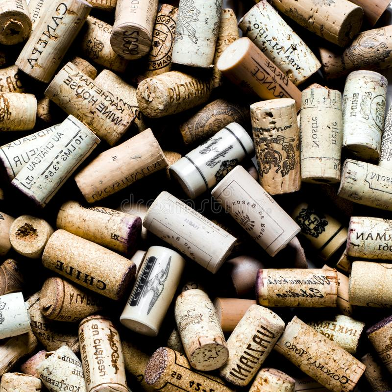 Background pattern of different wine bottle corks, winery texture, food concept and top view royalty free stock photography