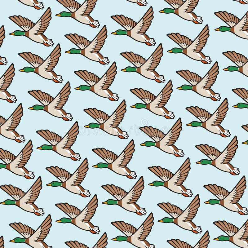Background pattern with mallard duck flying royalty free illustration
