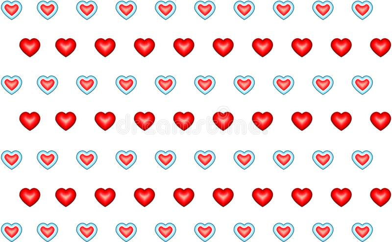 Background pattern row of red hearts and with aqua outline endless repetition stock illustration