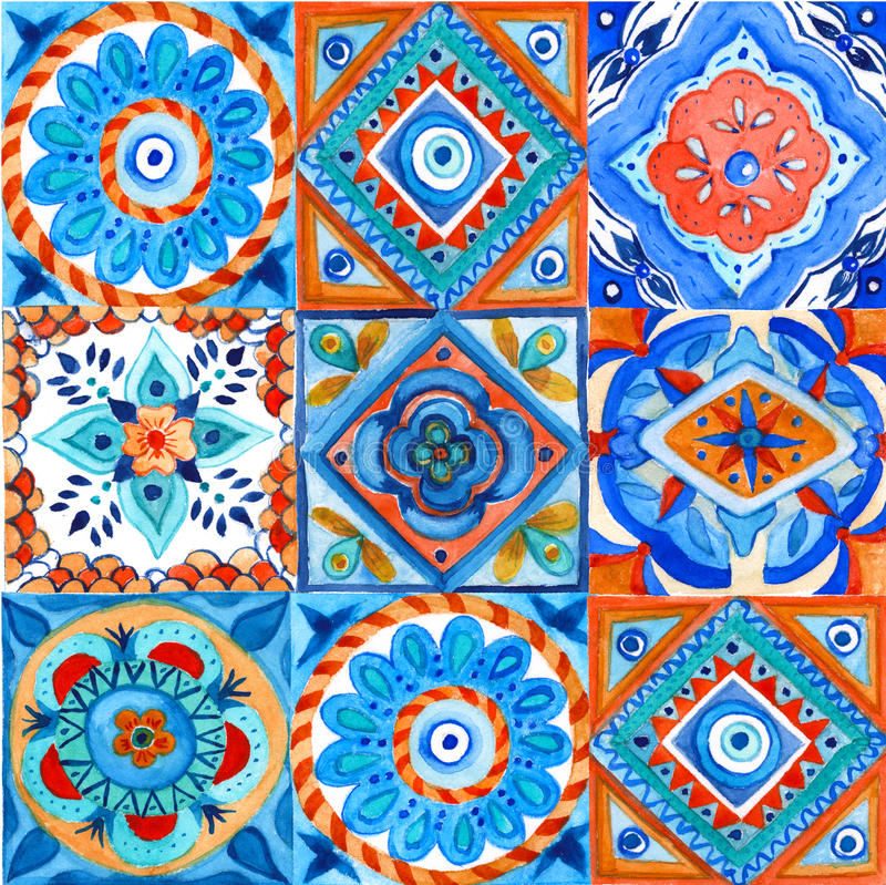 Background pattern of squares. Hand-painted. watercolor illustration. royalty free stock images