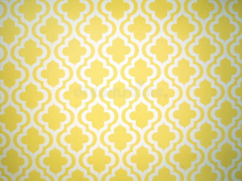 Background pattern and wallpaper design in arabesque classic arabic style of yellow color royalty free stock photography