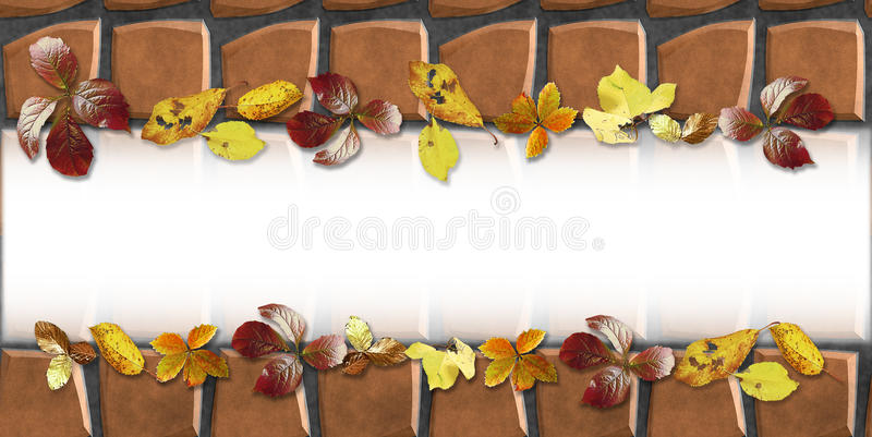 Background with pavement floor pattern of stones and autumn fallen leaves stock illustration