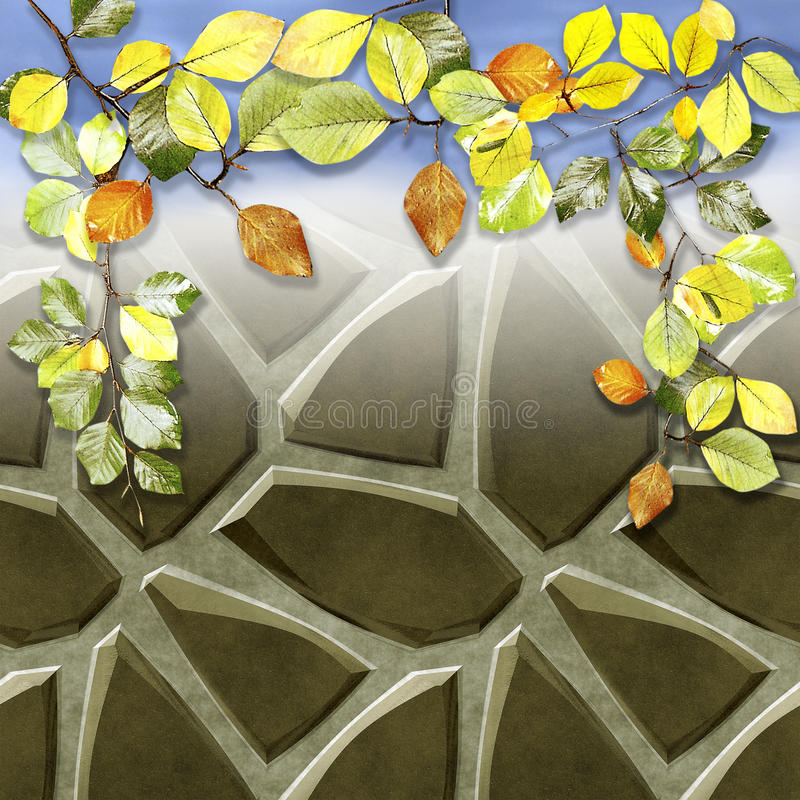 Background of pavement floor stones and autumn colorful beech leaves stock illustration