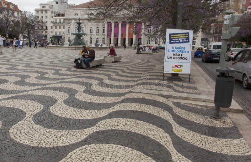 Background - paving stones symbolizing waves. Rossio Square, Lisbon, Portugal stock photo