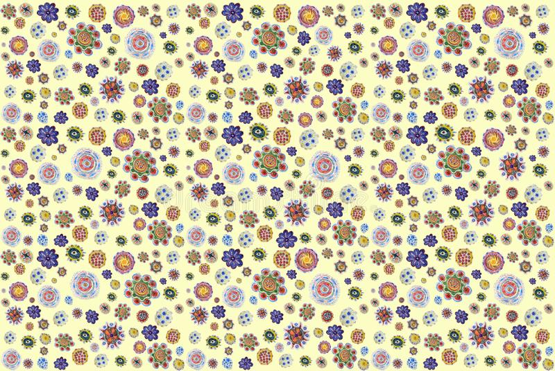 Background of pencil-drawn colorful flowers. hand drawing pattern royalty free stock photography