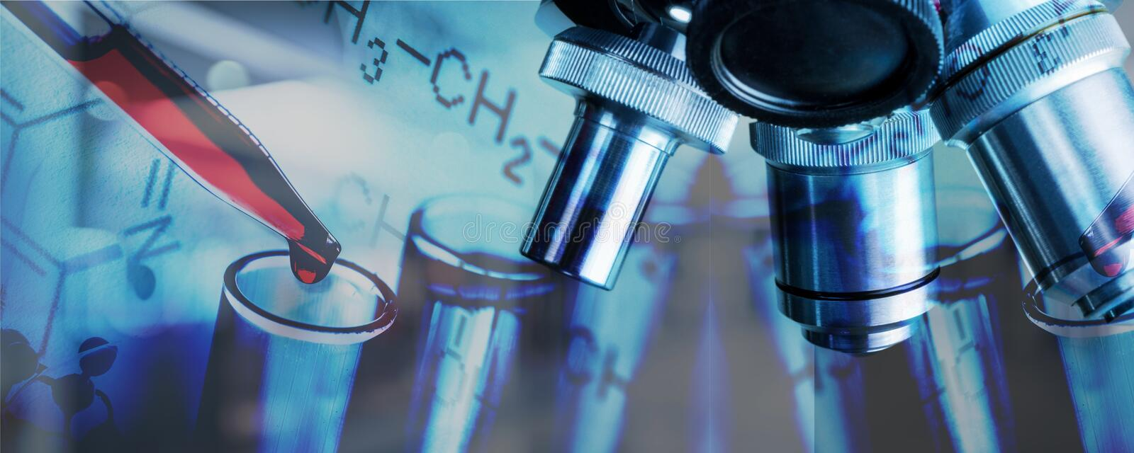 Background. Pharmaceutical research scientific banner abstract biotech royalty free stock photo