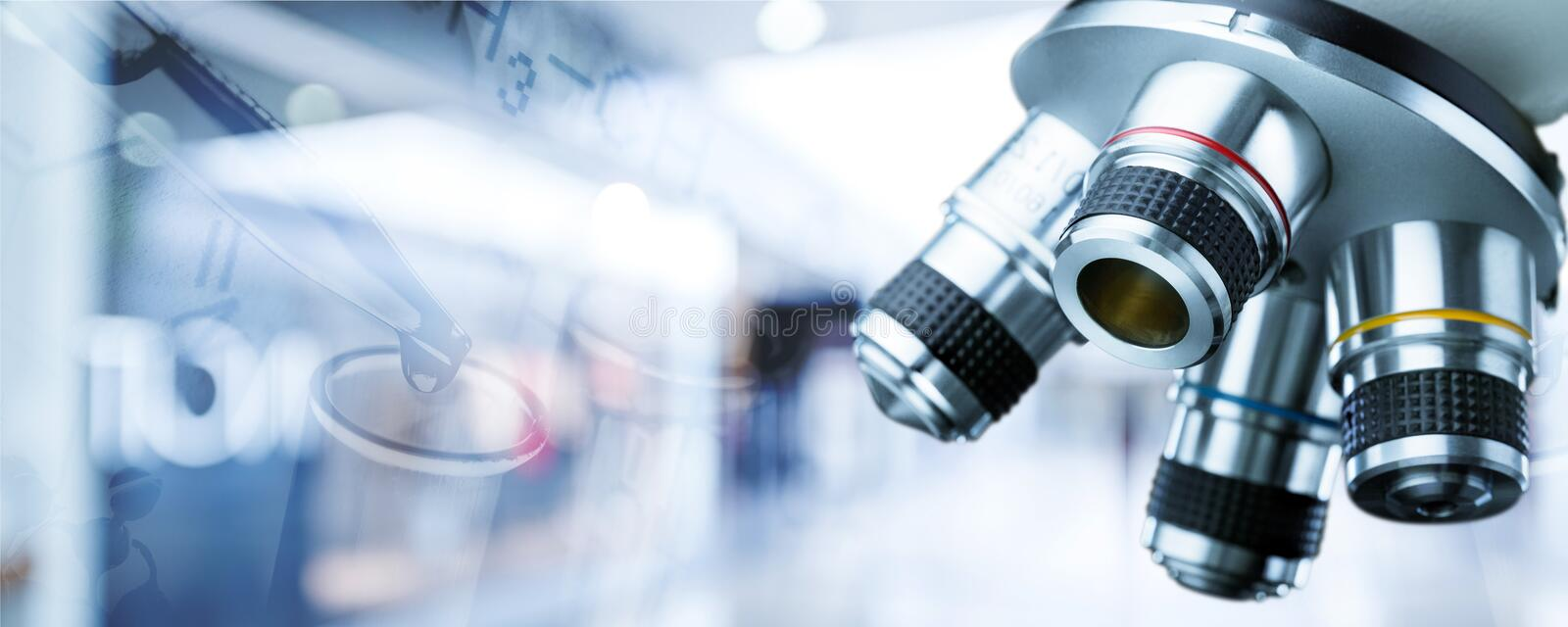 Background. Pharmaceutical research scientific banner abstract biotech stock photography