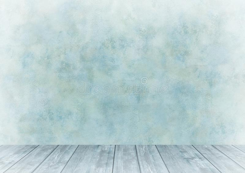 Background for photo studio with wooden table and backdrop. Light, wood, blue royalty free stock photography