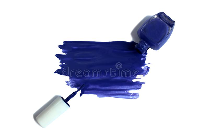 Cosmetic makeup bottle, nail polish or manicure design in blue. Background picture, beauty, bottle, type, brush, color, color, cosmetic, intent, flow, drop stock image