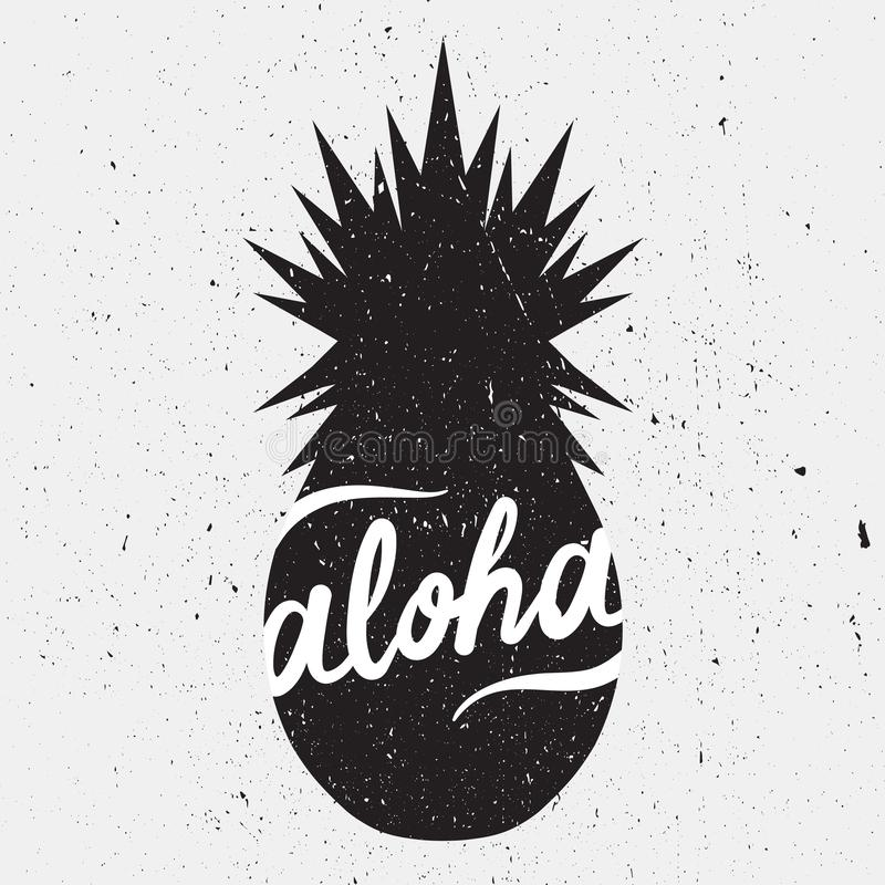 Black and white background with pineapple and lettering. Aloha. Hand drawn illustration with pineapple and lettering. Black and white background vector, text royalty free illustration