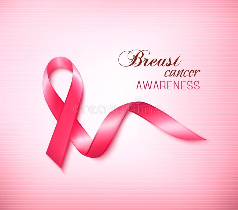 Background with Pink Breast Cancer Ribbon. royalty free illustration