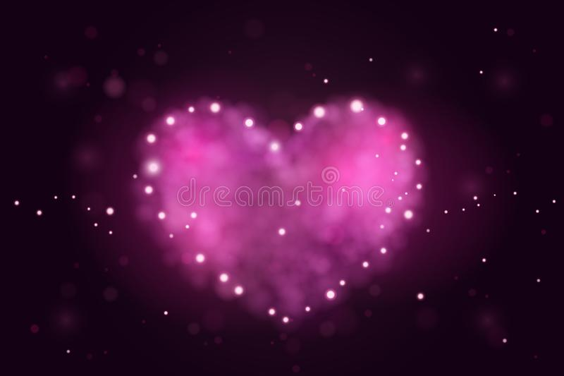 Background with Pink 3d realistic hearts. Beautiful abstract blurred wallpaper. Valentine day love design. Vector stock illustration