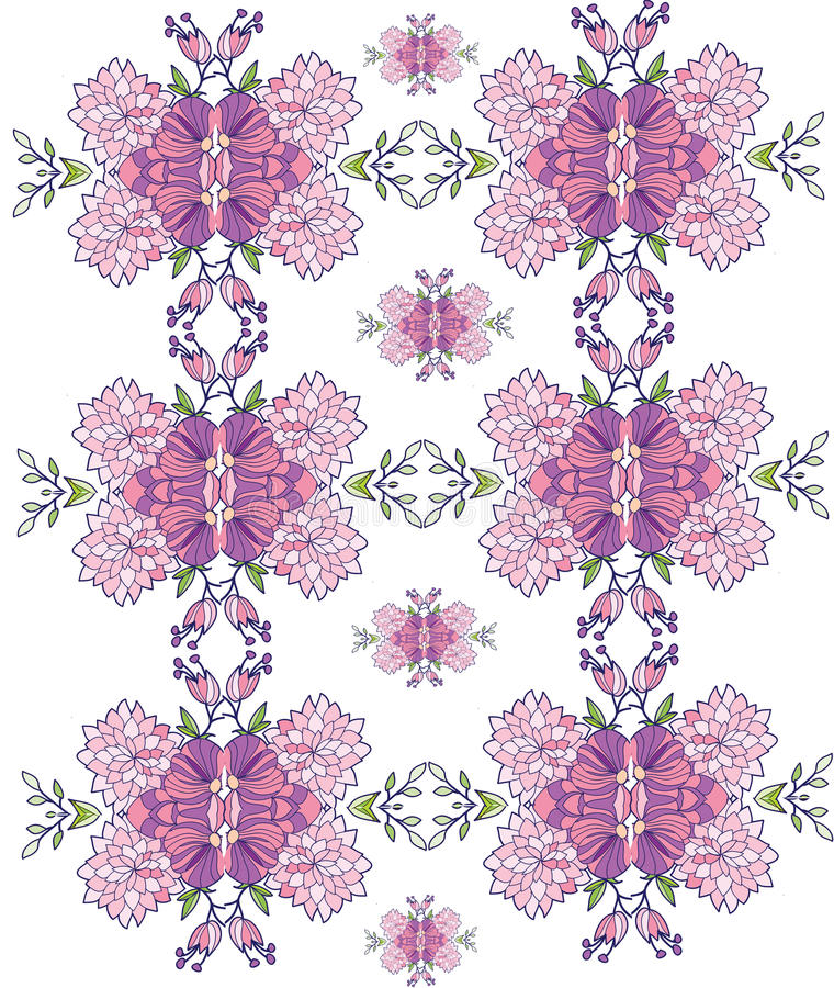 background with pink flowers in the pattern,symmetrical,repetitive stock illustration
