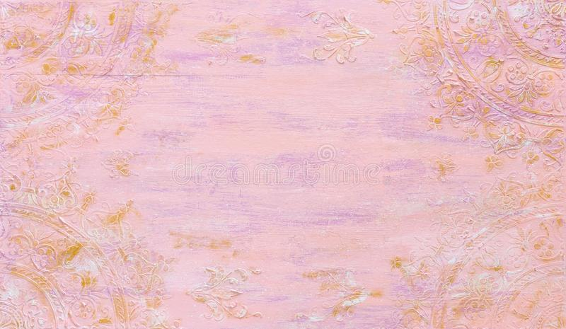 Background of pink and gold wooden vintage wall with floral emboss details royalty free stock image