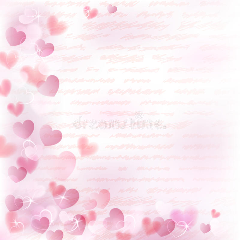 Background with pink hearts stock illustration