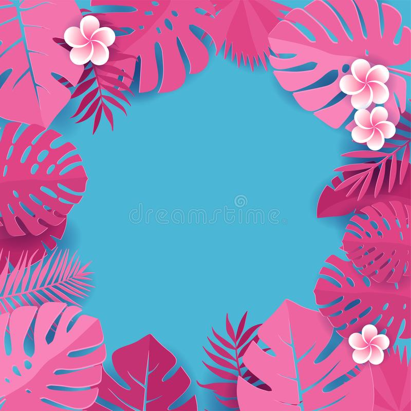 Background of pink palm leaves in blue backdrop. Frame of tropical monstera leaves with frangipani flowers. Tropical greeting card royalty free illustration