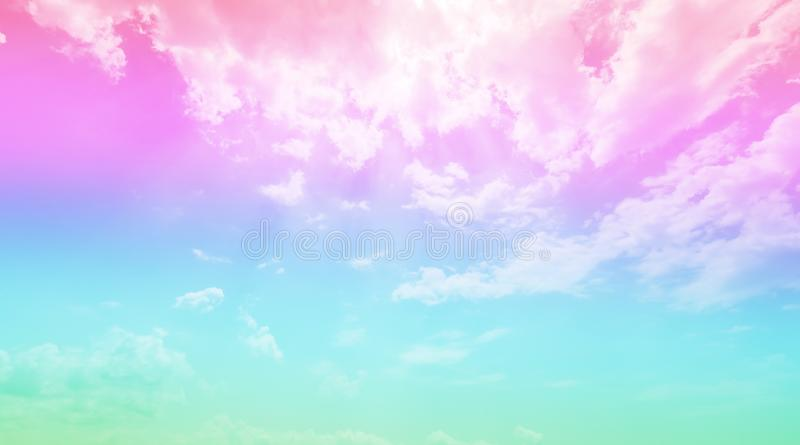 Background with pink pastel sky and blue sky, beautiful nature and environment. stock photo