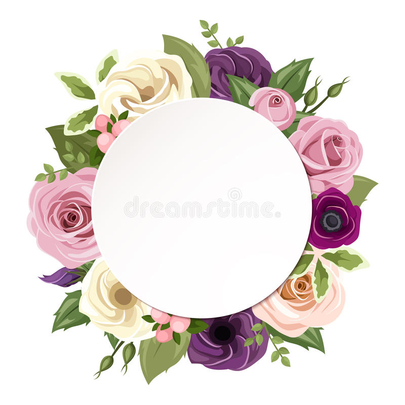Background with pink, purple, orange and white roses, lisianthus and anemone flowers. Vector eps-10. royalty free illustration