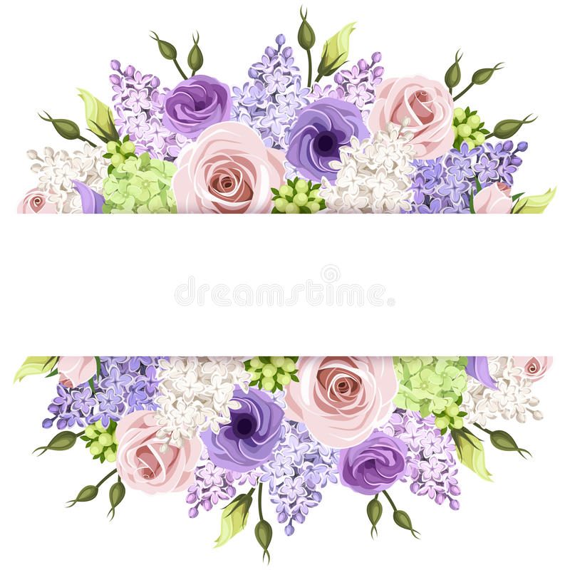 Background with pink, purple and white roses and lilac flowers. Vector eps-10. vector illustration