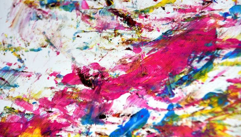 Pink red blue gray gold vivid bright watercolor paint acrylic abstract background, texture and strokes of brush stock photo
