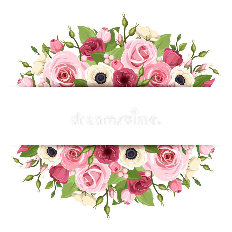 Background with pink, red and white flowers. Vector eps-10. stock illustration
