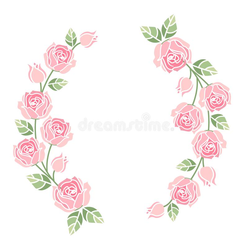Background with pink roses stock illustration