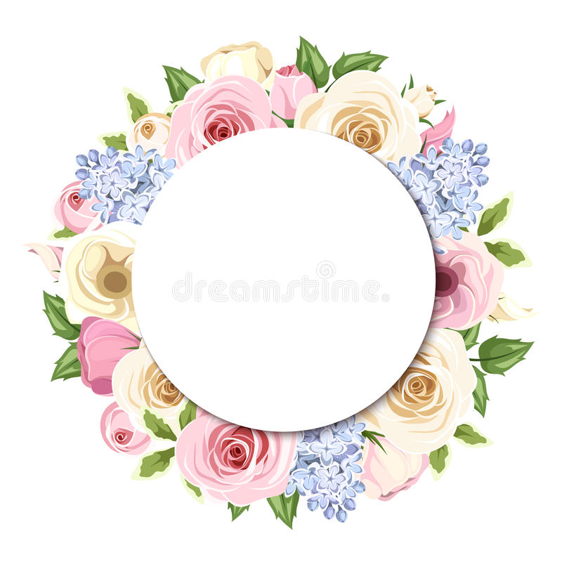 Background with pink, white and blue roses, lisianthus and lilac flowers. Vector eps-10. royalty free illustration