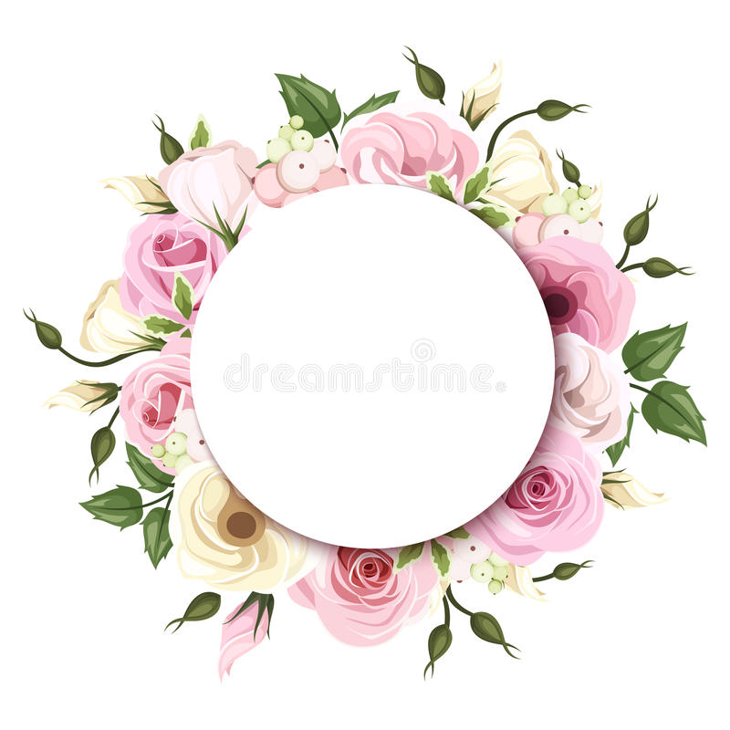 Background with pink and white roses and lisianthus flowers. Vector eps-10. stock illustration