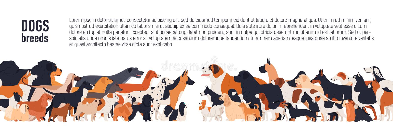 Background with place for text and different thoroughbred dogs. horizontal orientation banner, flyer, header for site. Background with place for text and stock illustration