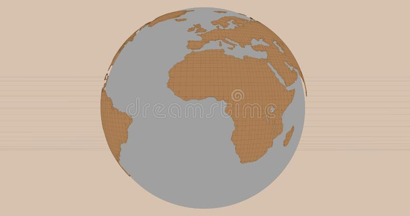 A background of the planet Earth in a cartoonish style, which shows the Africa continent. vector illustration