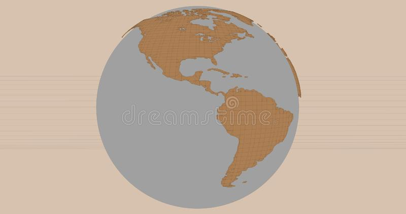A background of the planet Earth in a cartoonish style, which shows the America continent. stock illustration