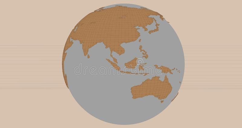 A background of the planet Earth in a cartoonish style, which shows Australia and Asia continents. royalty free illustration