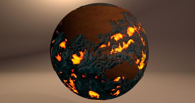 A background with the planet Earth made of fire and lava, which shows Australia and Asia continents. stock illustration