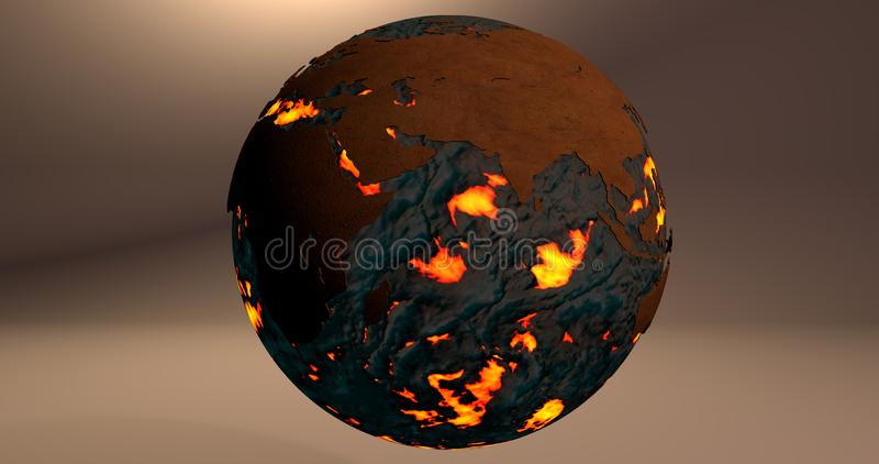 A background with the planet Earth made of fire and lava, which shows the Europe and Asia continents. stock illustration