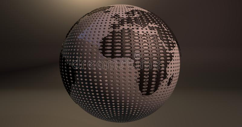 A background of the planet Earth which looks like a ball of golf, which shows the Africa continent. Background of the planet Earth which looks like a ball of royalty free illustration